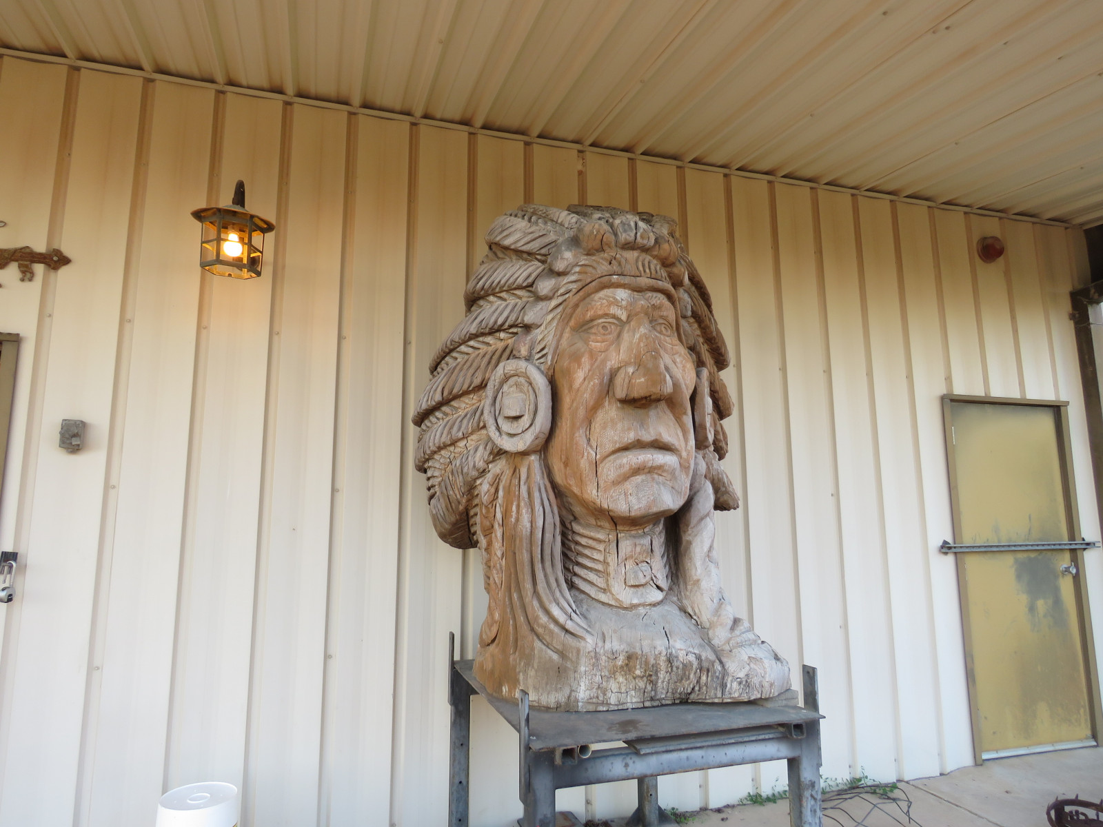 Large Carved Wooden Indian Statue - Image 1