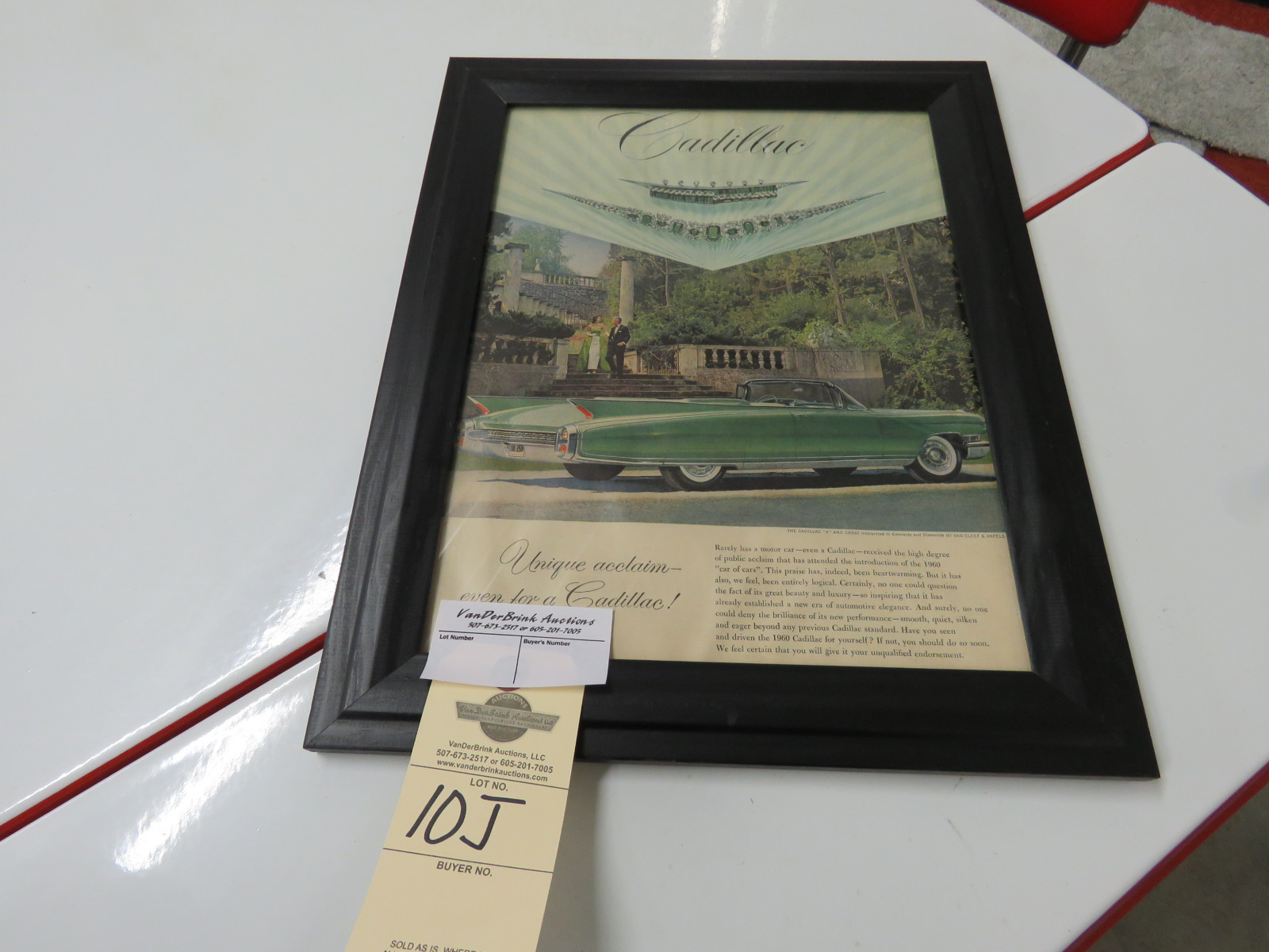 Cadillac Vintage Framed Advertising Piece - Image 1