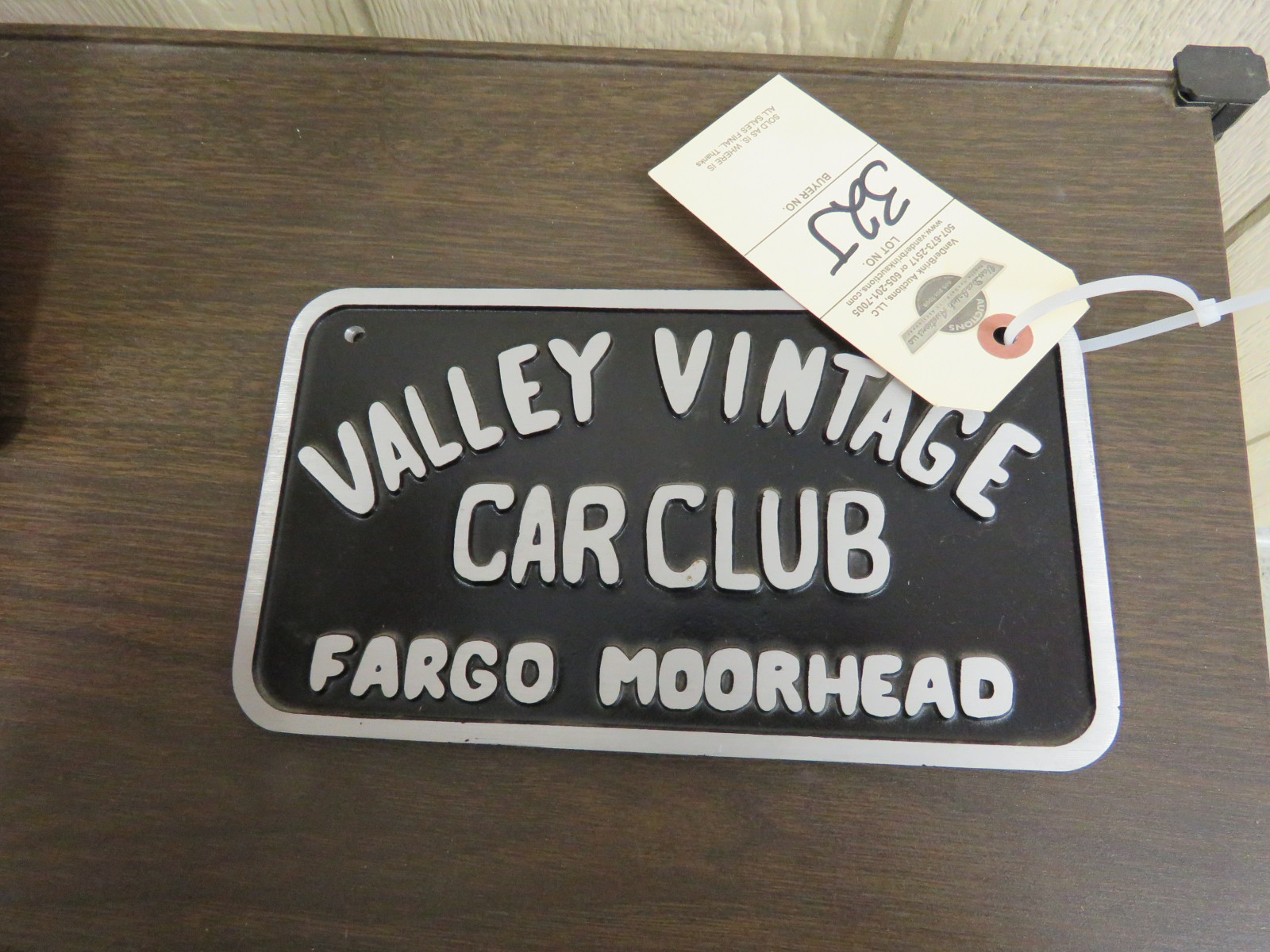 Valley Vintage Car Club -Fargo-Moorhead, ND Plaque - Image 1