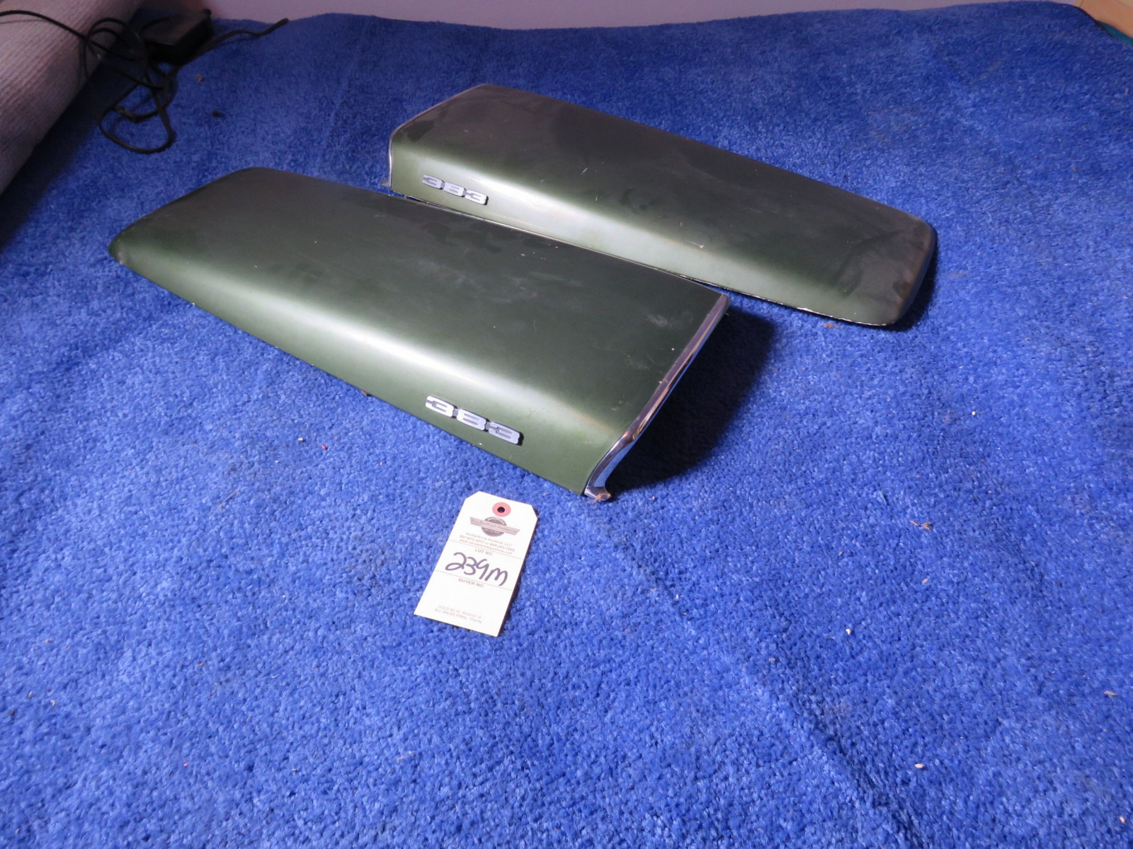 Original MOPAR 1969-72 A/B Body Twin Hood Scoops with 383 Emblems - Image 1