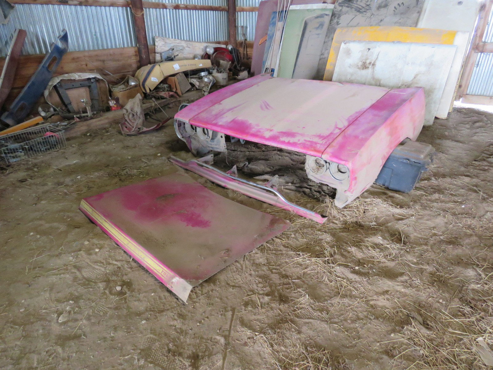 Front Clip for 1970 Plymouth Road runner in Original Pink with Decklid - Image 1