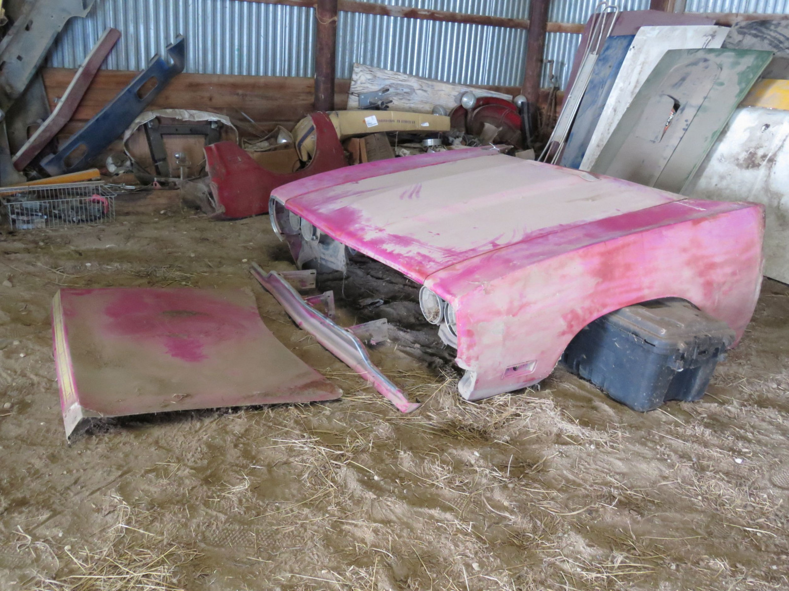 Front Clip for 1970 Plymouth Road runner in Original Pink with Decklid - Image 3