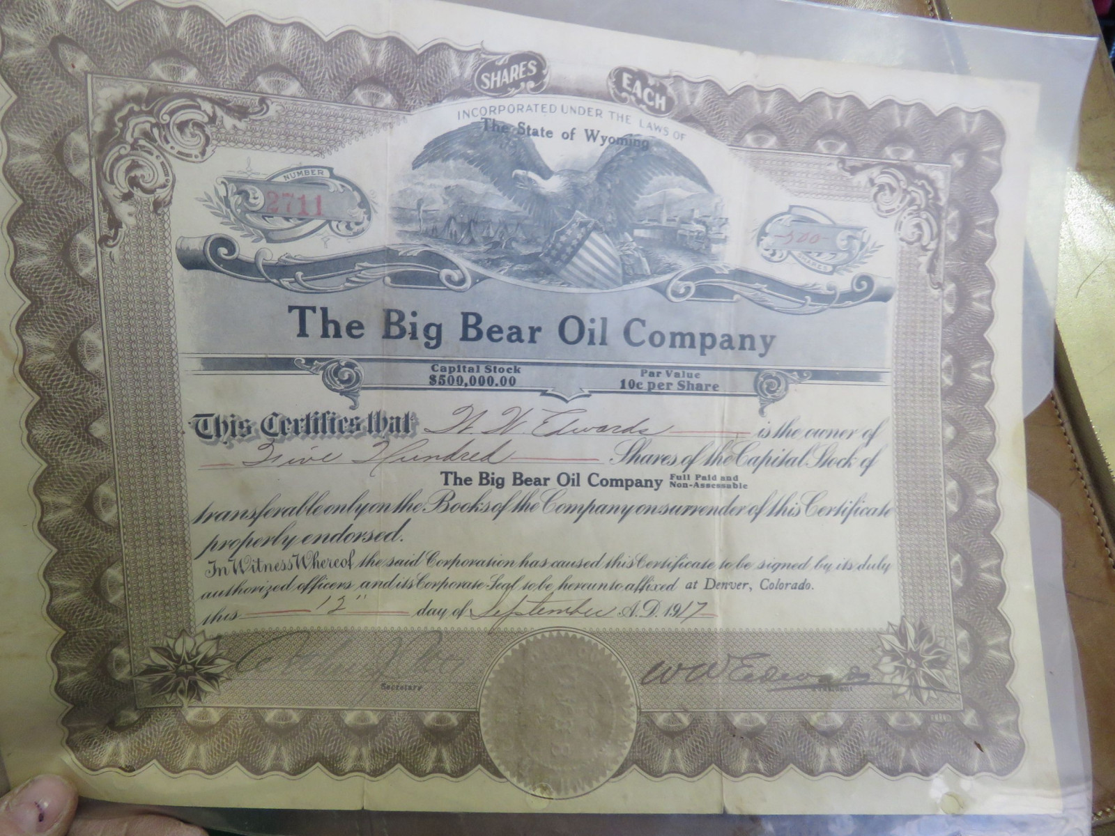 Bear Oil Stock Certificate - Image 1