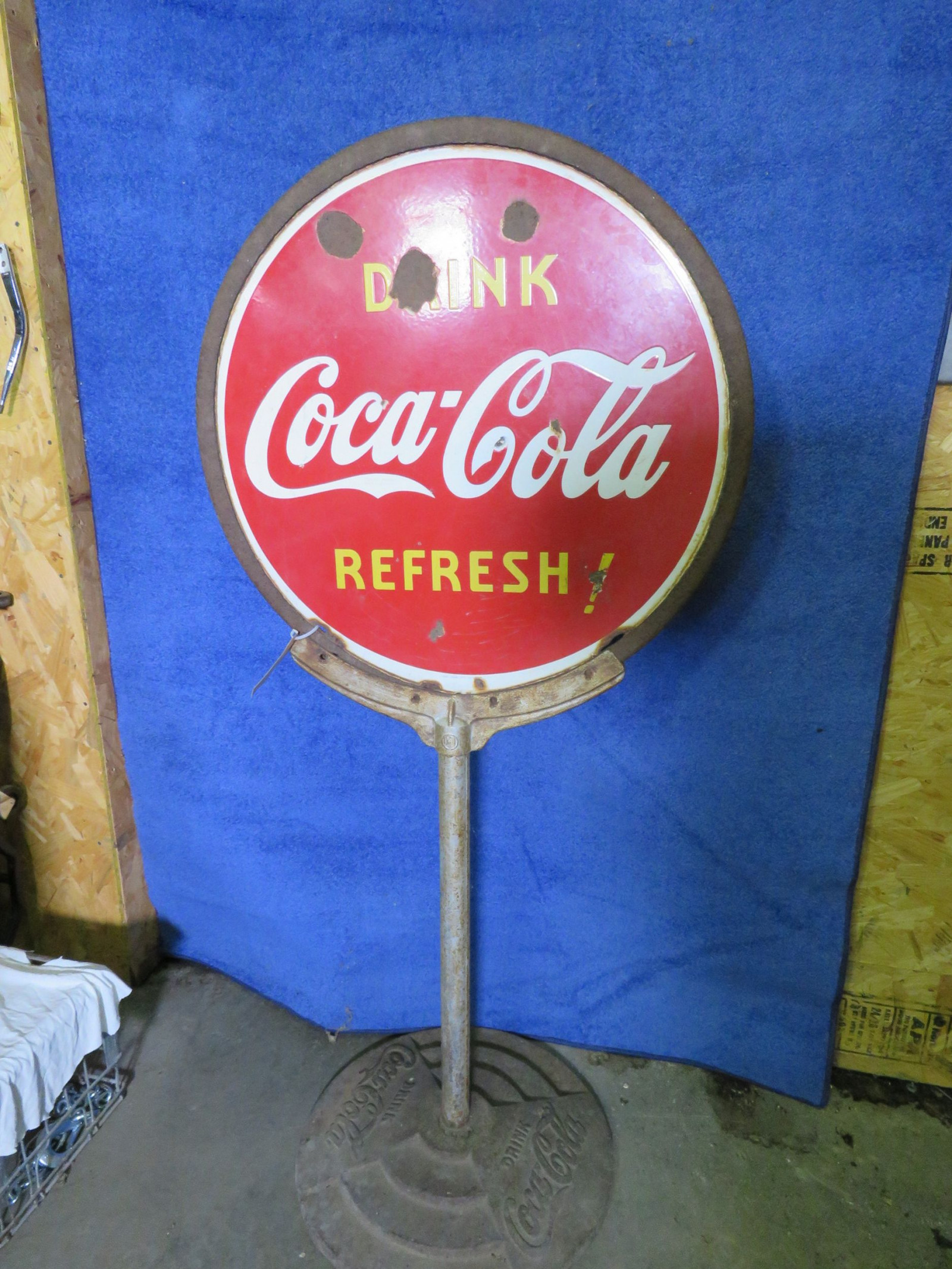 Coca Cola Porcelain DS Lollipop Sign - Image 1