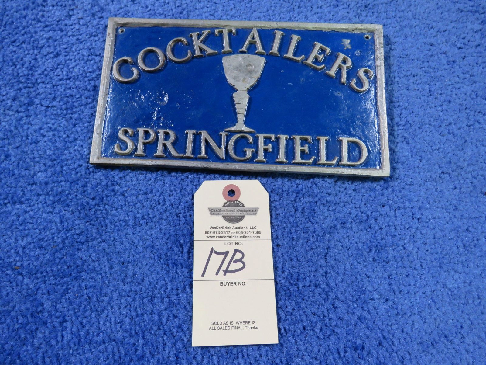 Vintage Cocktails Springfield, Missouri Vehicle Club Plate - Image 1