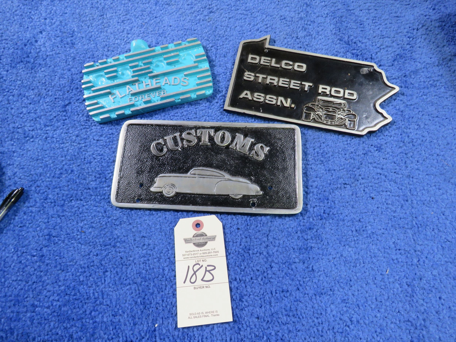 Grouping of Vintage Potmetal Vehicle Club Plates - Image 1