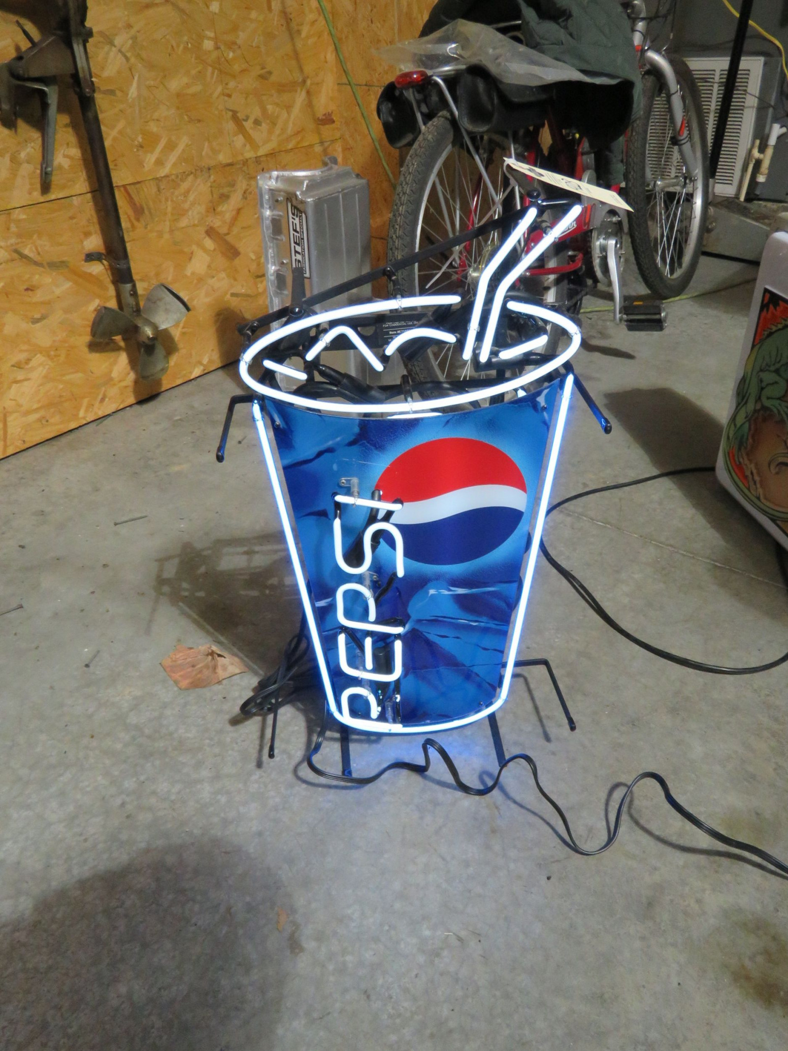 Pepsi Lighted Neon Stand UP Sign- Works - Image 1