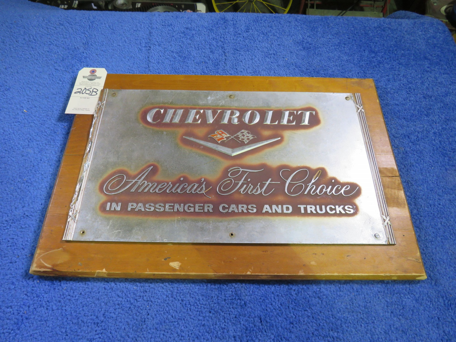 Chevrolet Dealer Tin Sign on Wood - Image 1