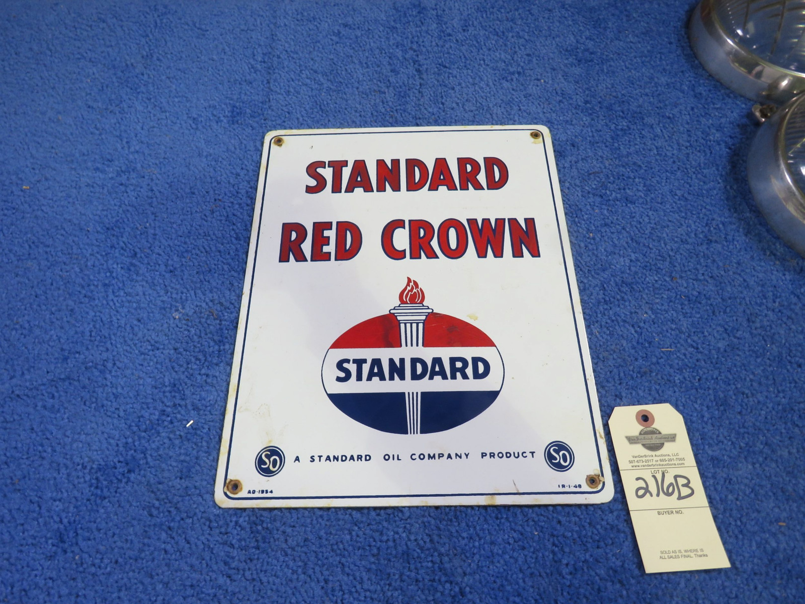 1954 Standard Red Crown SS Porcelain Pump Plate - Image 1