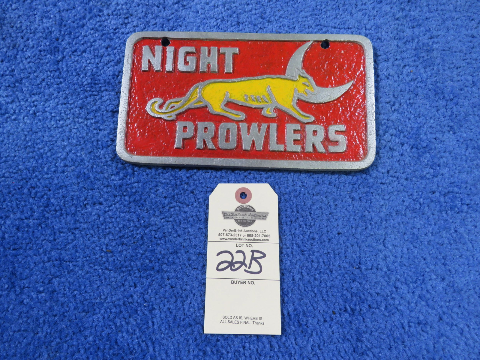 Vintage Pot Metal Night Prowlers Vehicle Club Plate - Image 1