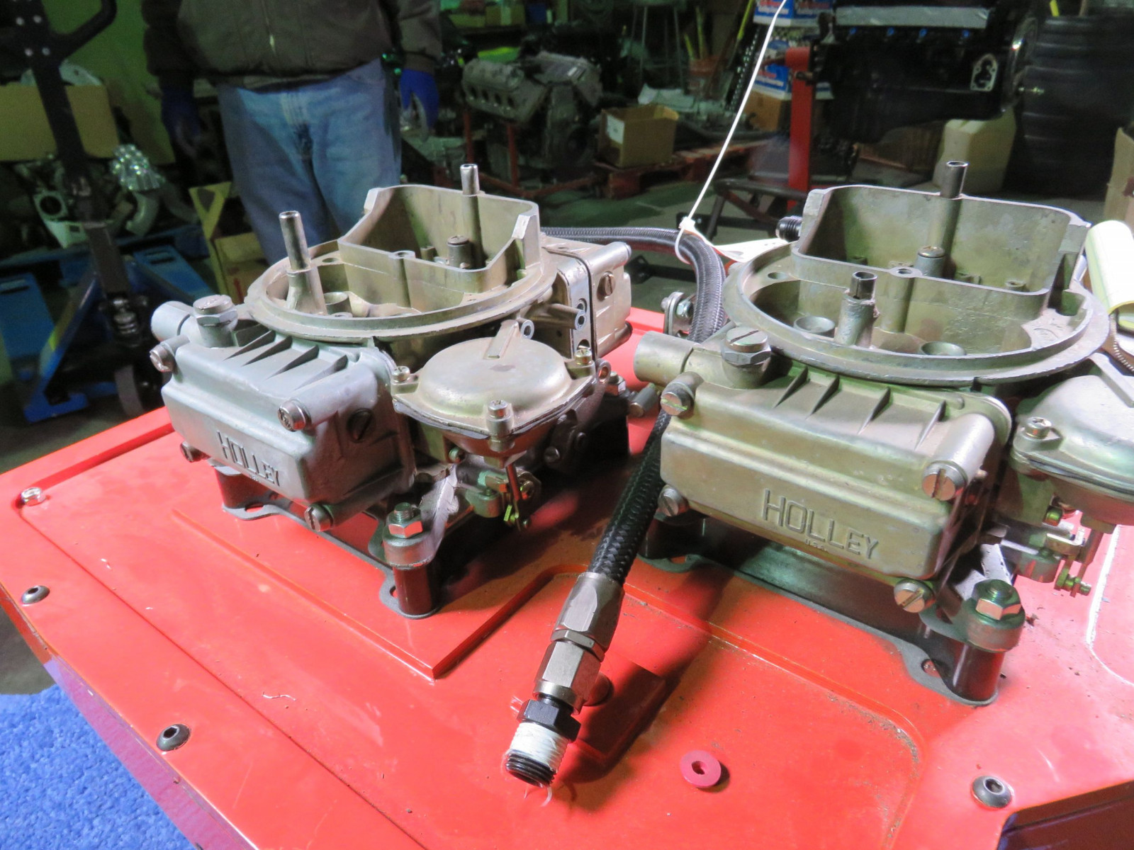 426 Hemi Cross Ram Wedge 2-4bbl Carb Set UP with Ray Barton Intake Plate - Image 6