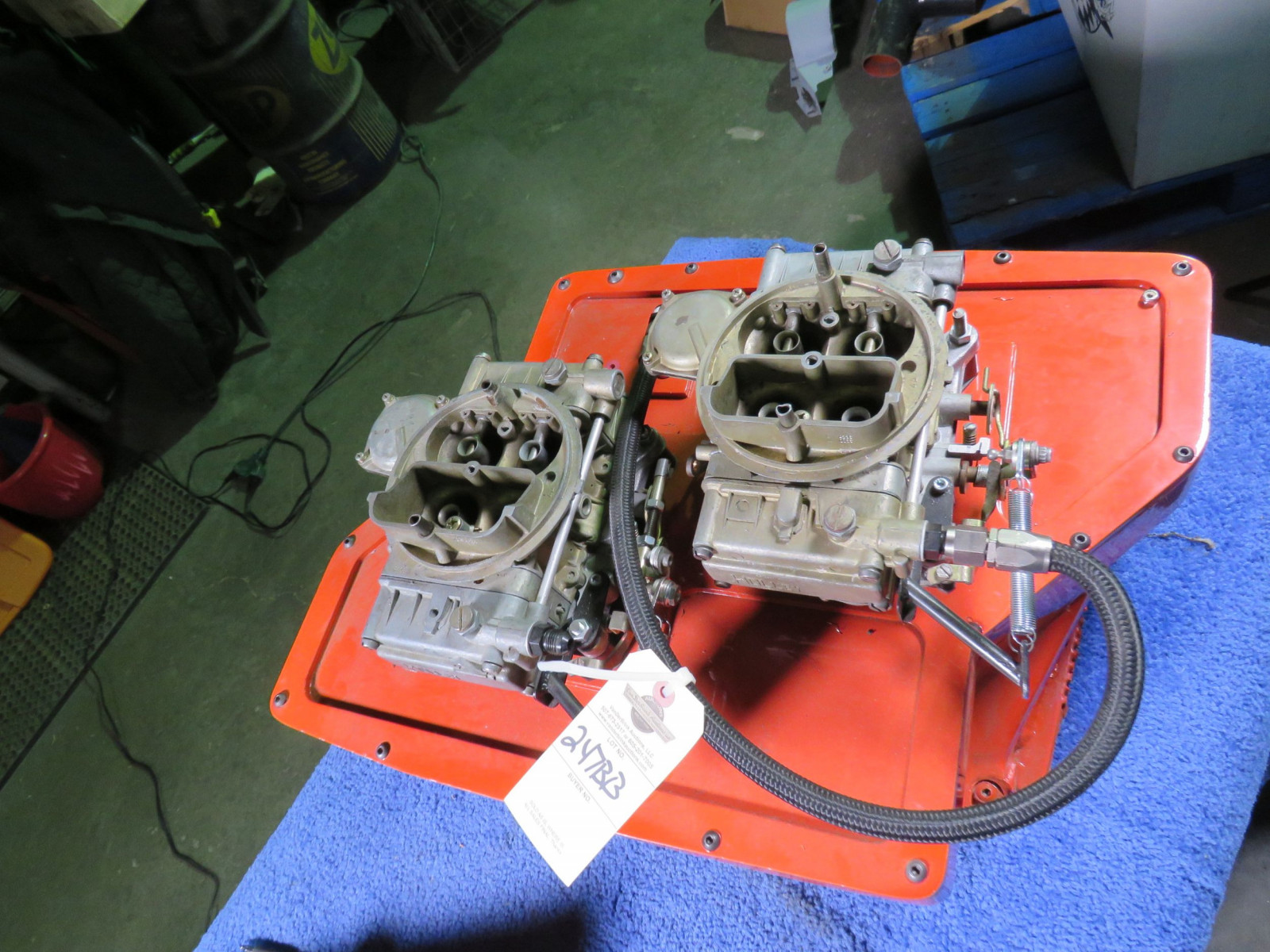 426 Hemi Cross Ram Wedge 2-4bbl Carb Set UP with Ray Barton Intake Plate - Image 9
