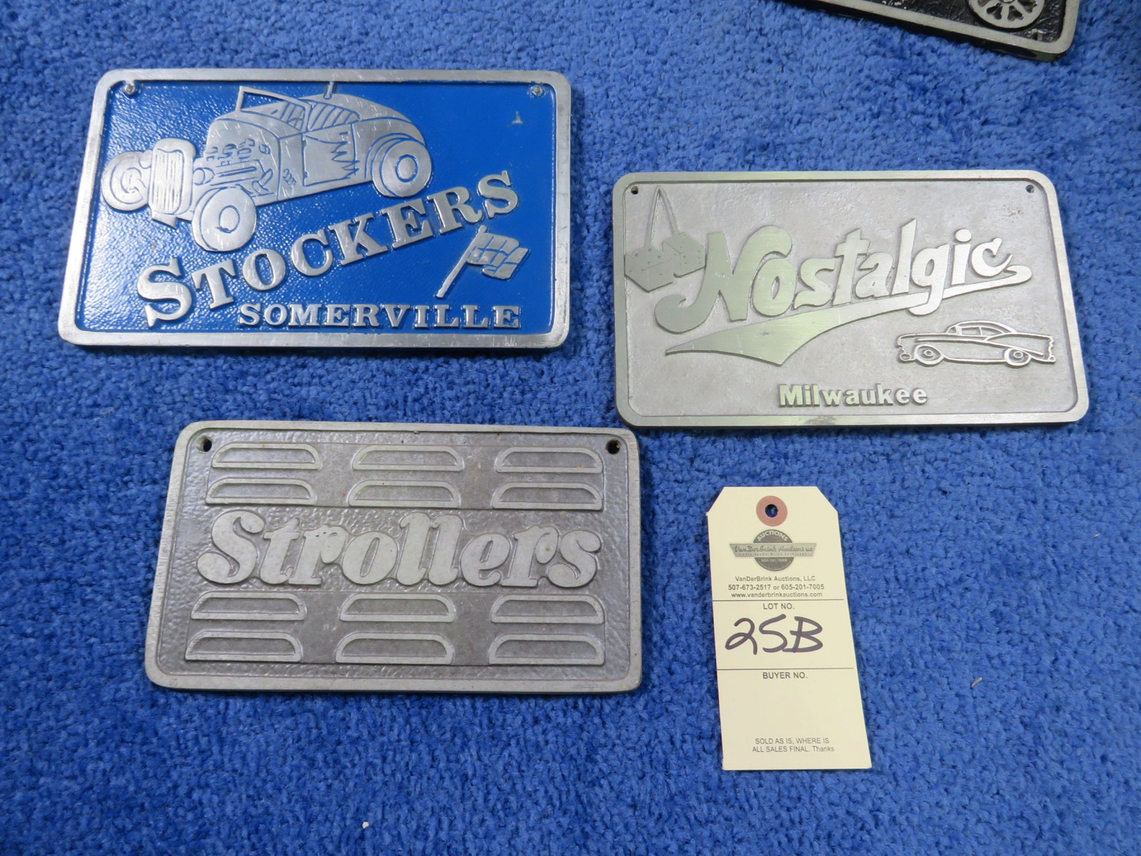 Vintage Pot Metal Vehicle Club Plates Strollers, Stockers, Nostalgics - Image 1