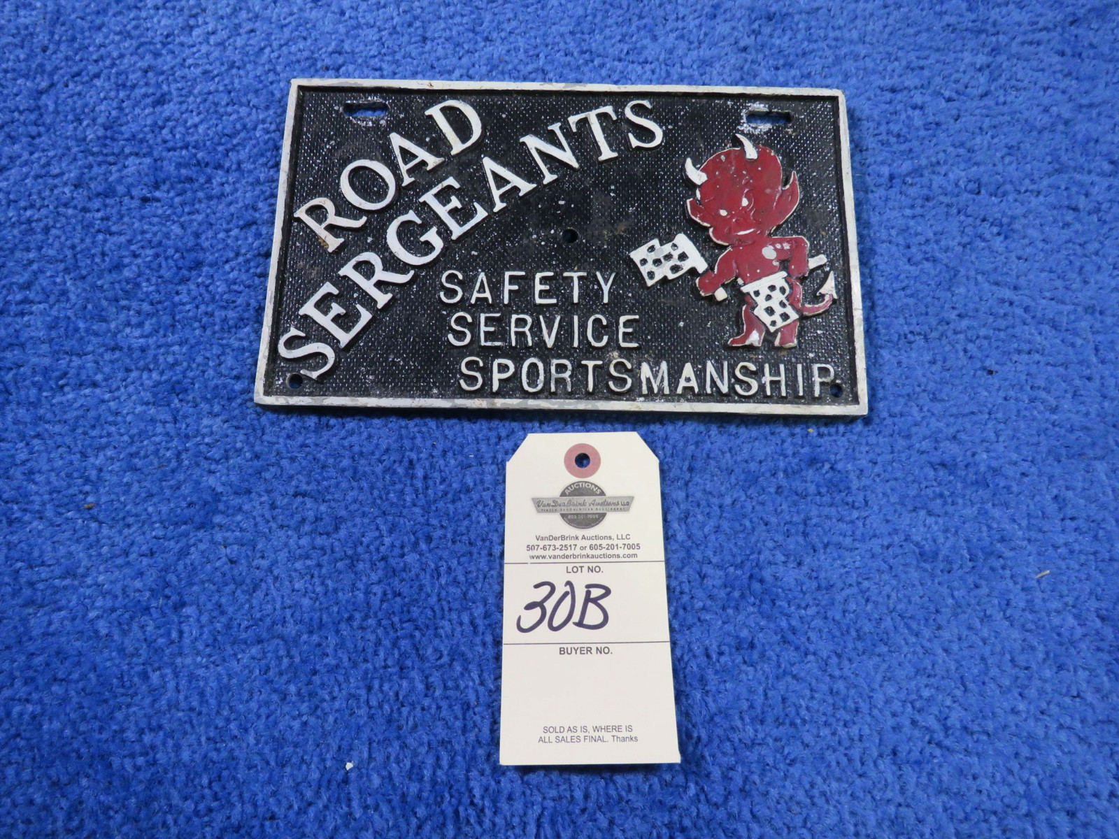 Road Sergeants Vintage Vehicle Club Plate- Pot Metal - Image 1