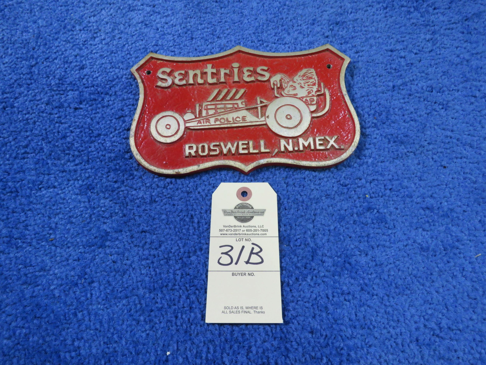 Sentries of Roswell, NM Vintage Vehicle Club Plate- Pot Metal - Image 1