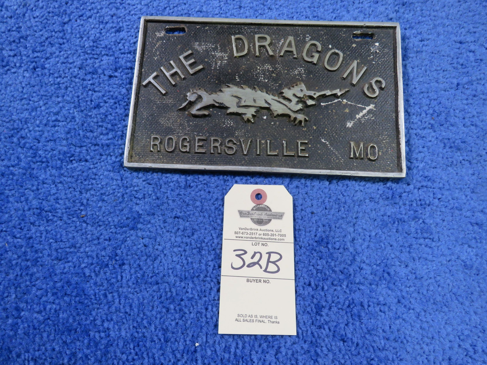 The Dragons Vintage Vehicle Club Plate- Pot Metal - Image 1