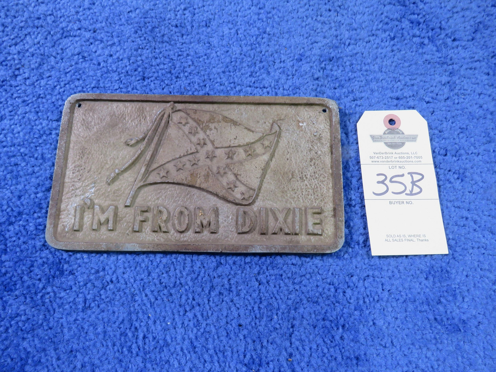 I'm From Dixie Vintage Vehicle Club Plate- Pot Metal - Image 1