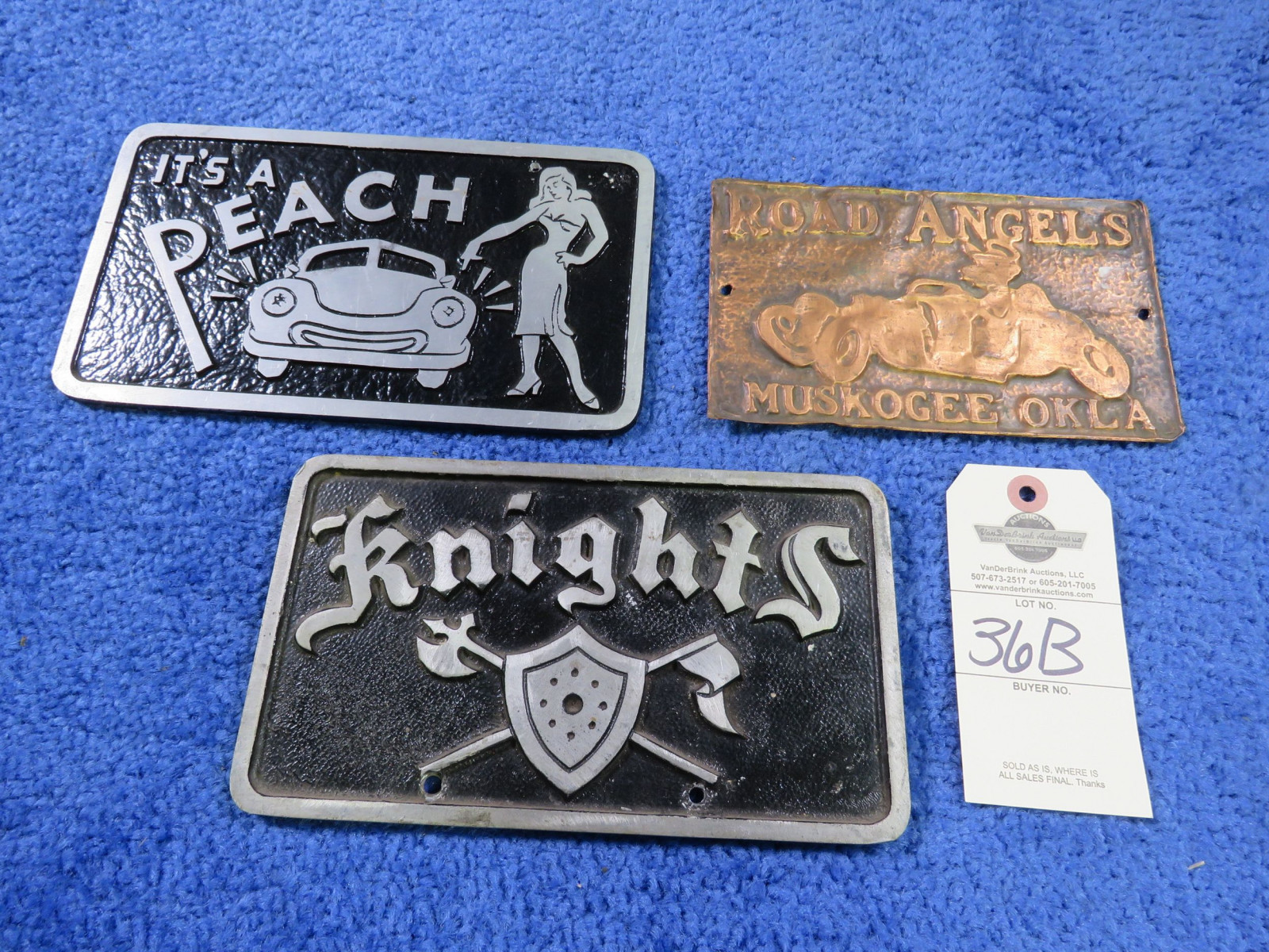 Vintage Vehicle Club Plates- Knights and Road Angels- Pot Metal - Image 1