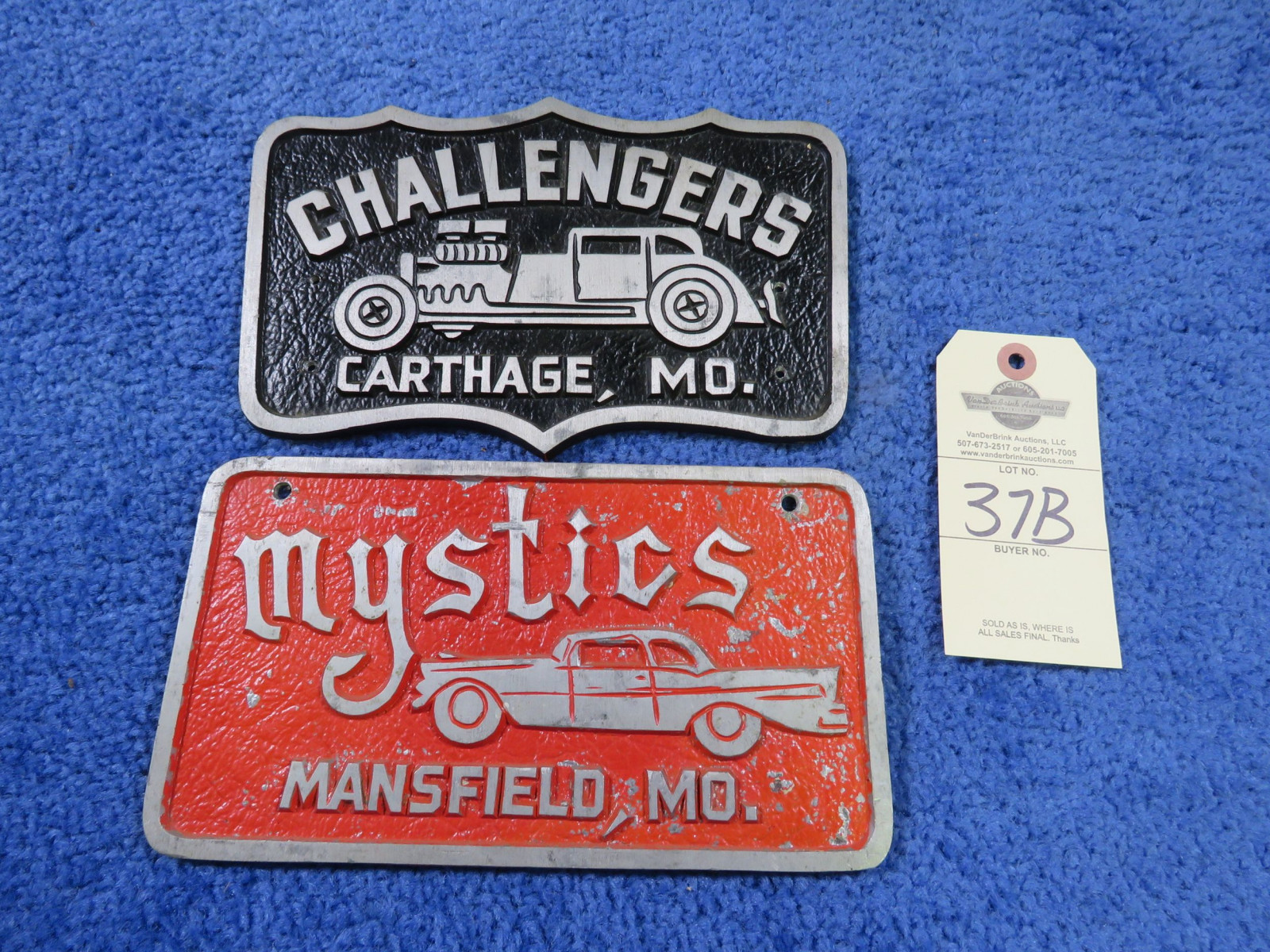 Vintage Vehicle Club Plates of Mystics and Challengers- Pot Metal - Image 1