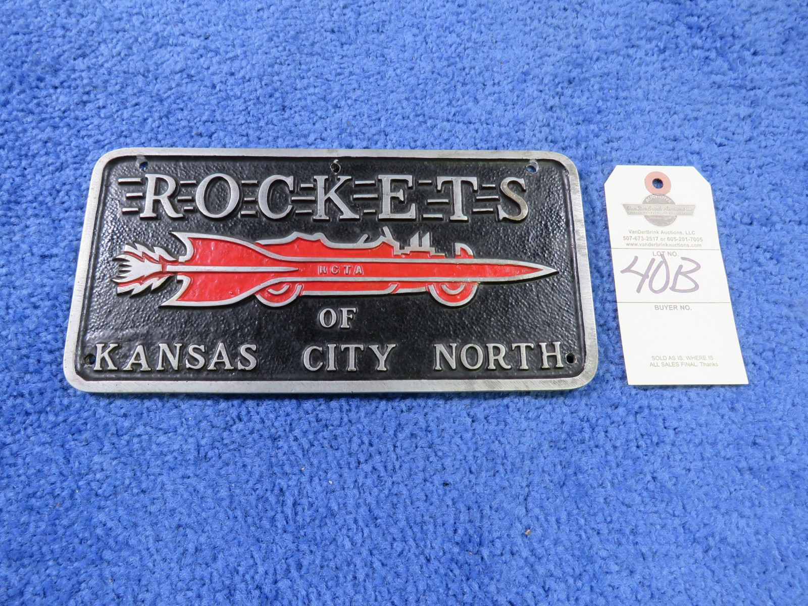 Rockets from KC North Vintage vehicle Clulb Plate- Pot Metal - Image 1