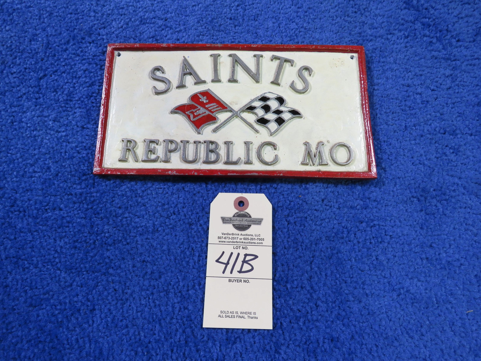 Saints, Republic, Mo Vintage Vehicle Club Plate- Pot Metal - Image 1