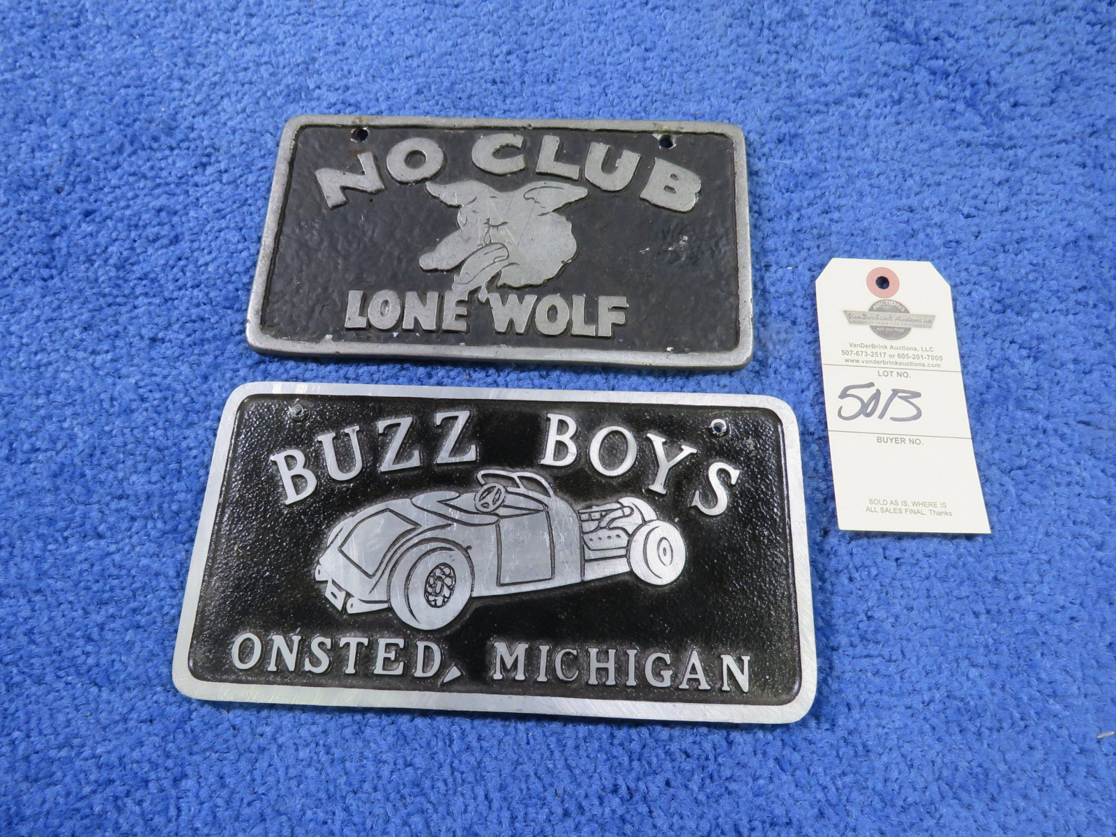 Lone Wolf-No Club -Buzz Boys Vintage Vehicle Club Plate- Pot Metal - Image 1