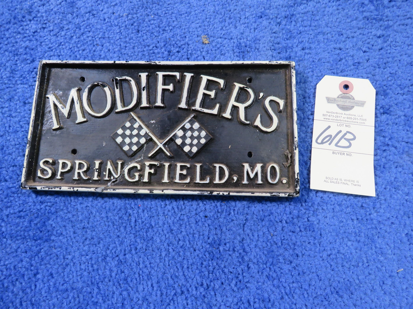 Modifiers Springfield, MO Vintage Vehicle Club Plate- Pot Metal - Image 1