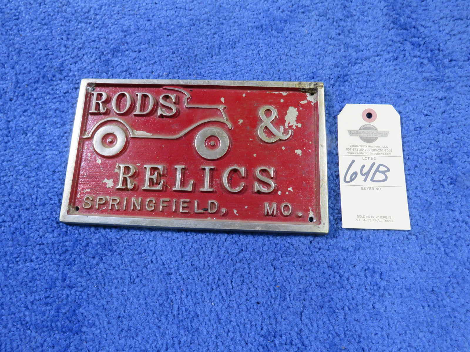 Rod & Relics Vintage Vehicle Club Plate- Springfield, MO- Pot Metal - Image 2