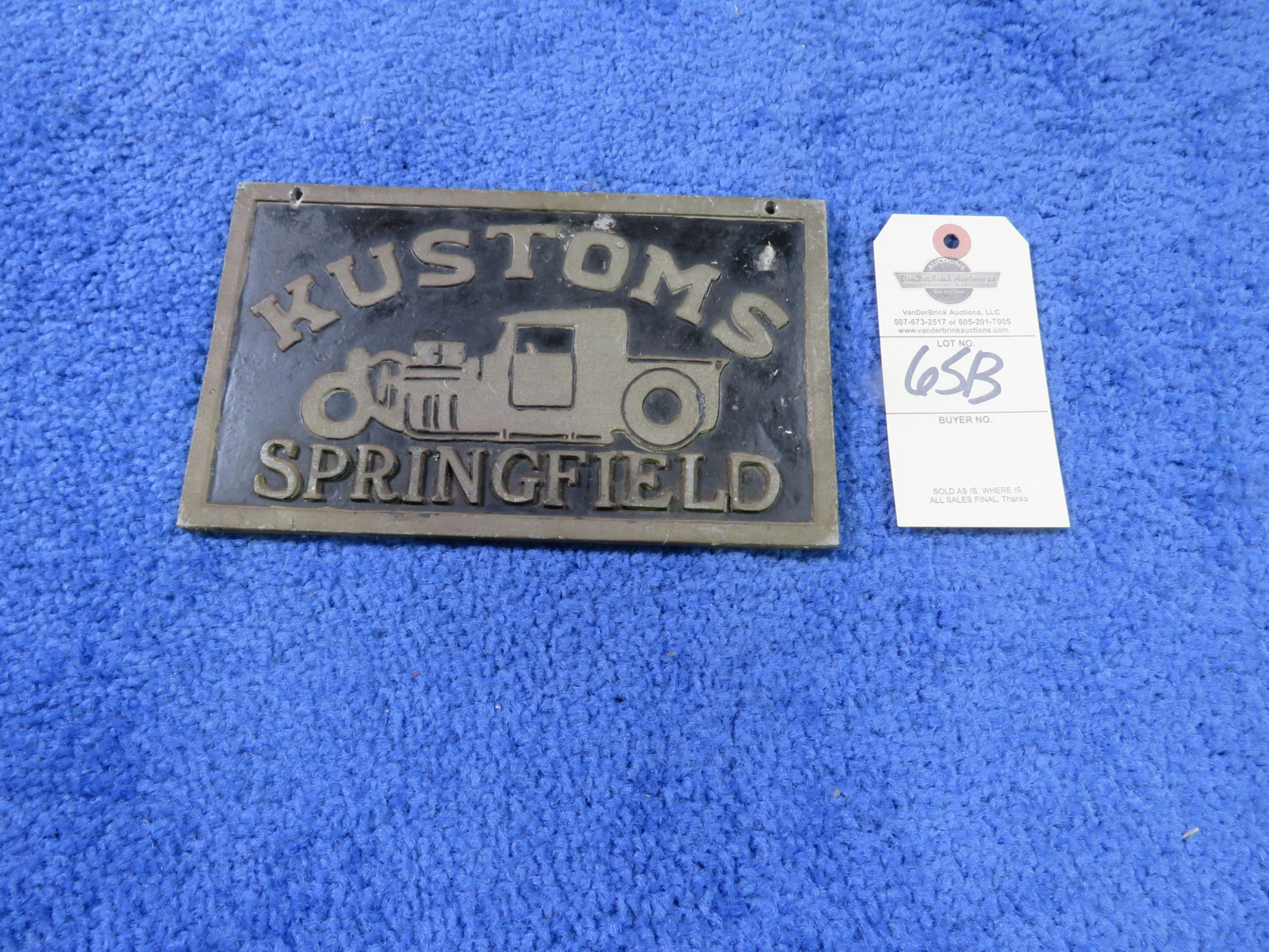 Kustoms Vintage Vehicle Club Plate from Springfield, MO- Pot Metal - Image 1