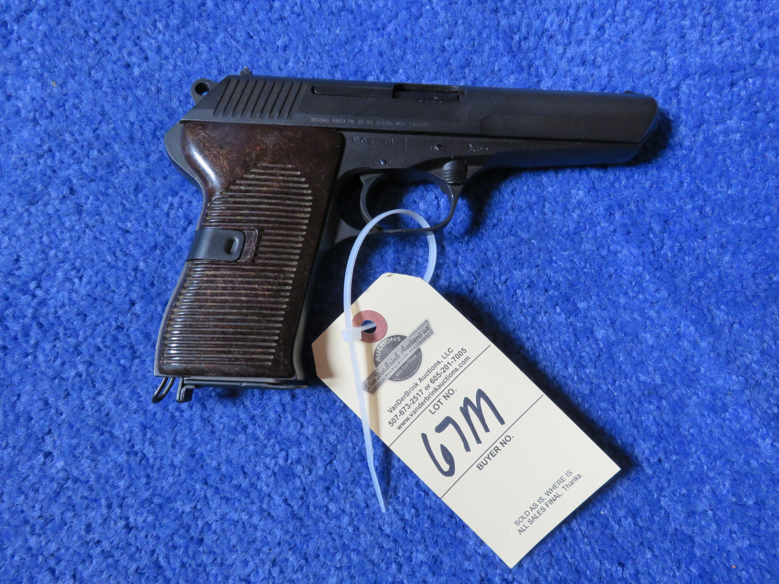 CZECH Republic 7.62x25 Semi Auto Handgun - Image 3