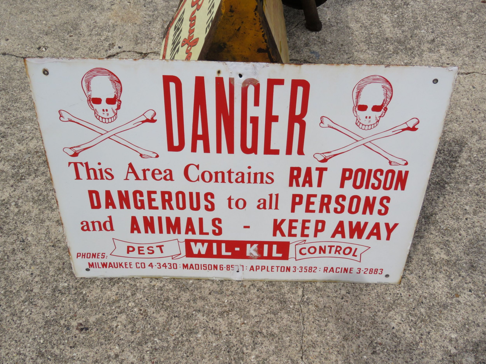 Danger Rat Poison Single Sided Porcelain Sign - Image 1