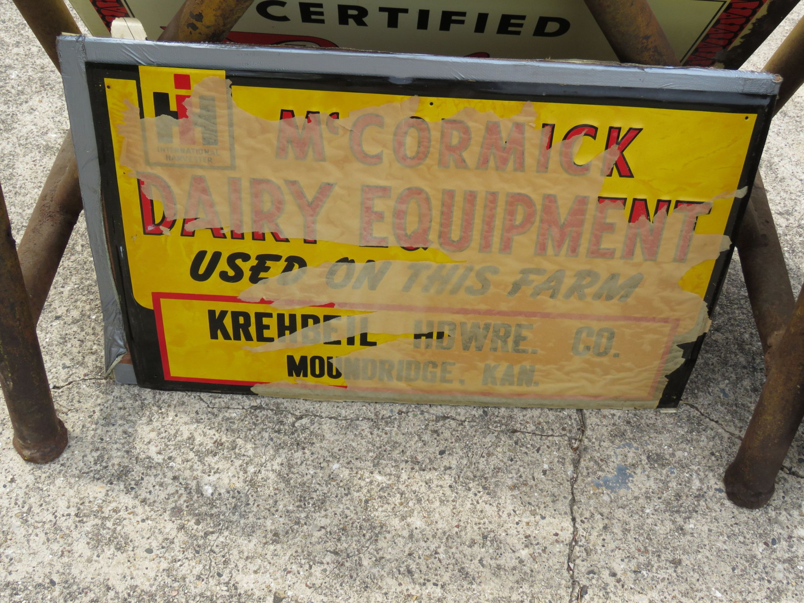 NOS McCormick Deering Dairy Equipment Painted Tin Sign - Image 1