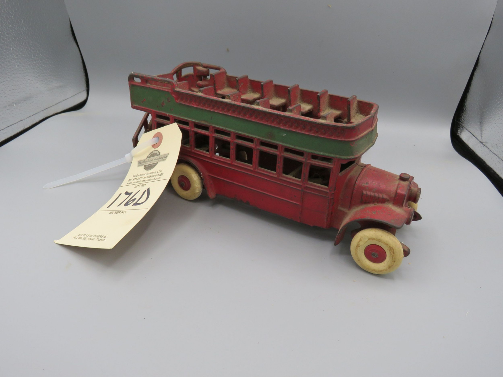 Arcade Double Decker Bus Cast Iron Approx. 10 inches - Image 1