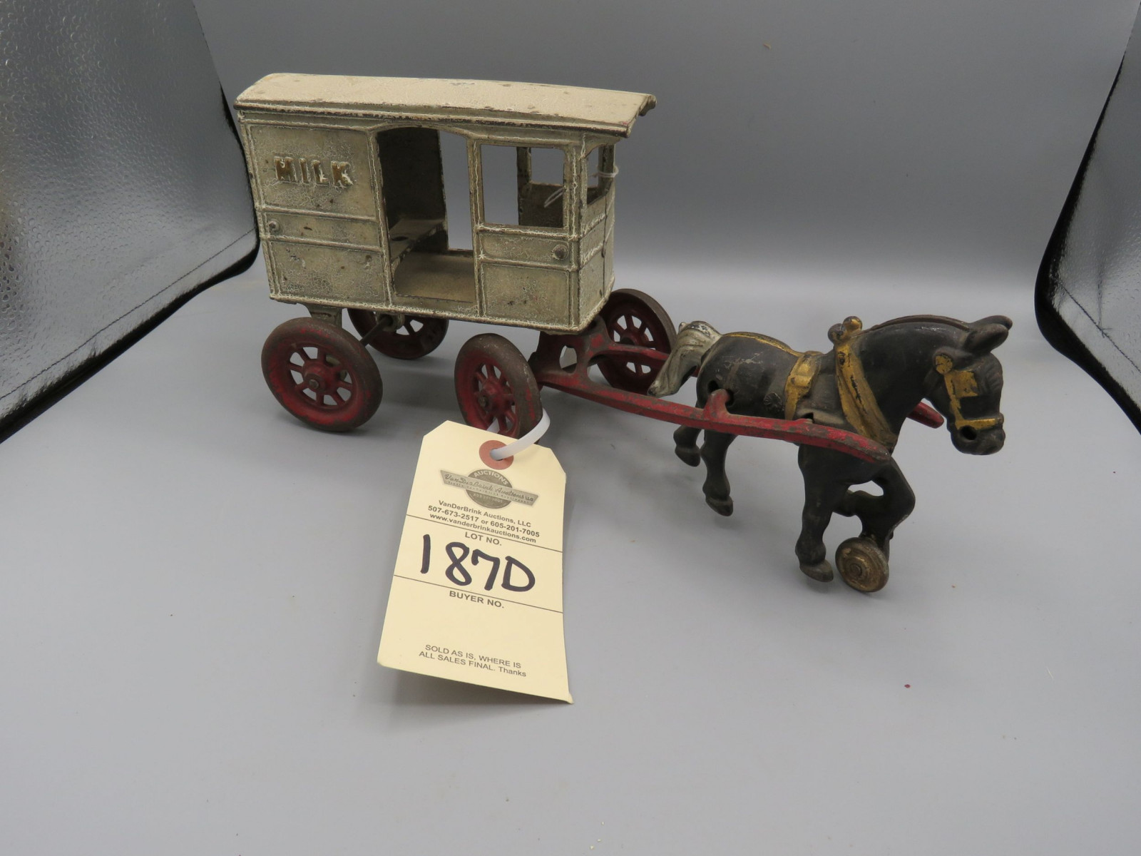 Vintage Cast Iron Milk Cart with Horse Approx. 10 inches - Image 1