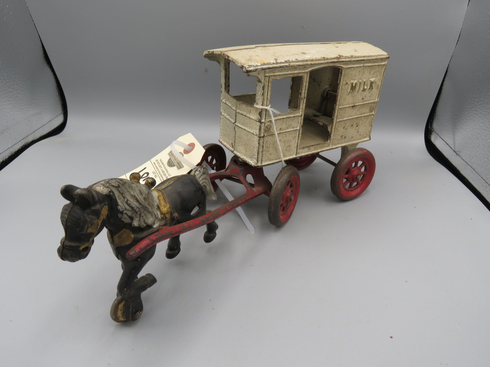 Vintage Cast Iron Milk Cart with Horse Approx. 10 inches - Image 2
