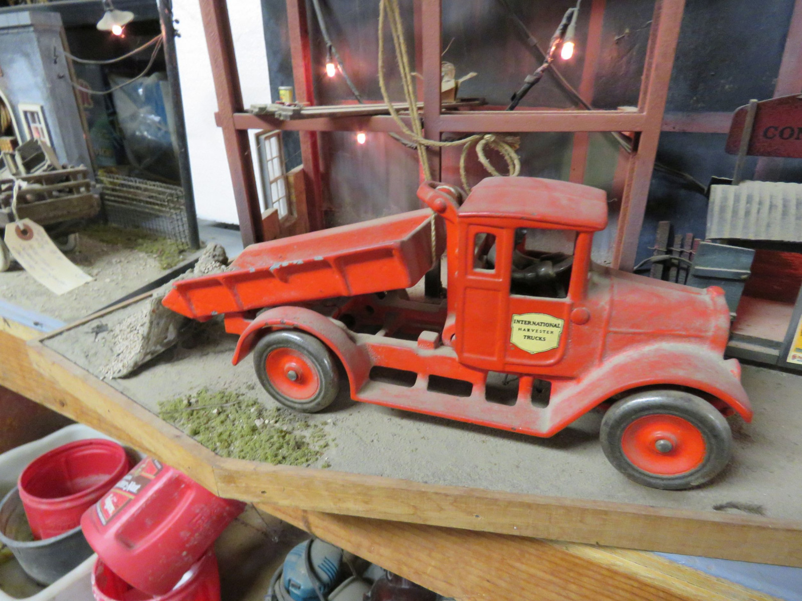 Construction Site Diorama with Vintage Cast Iron Arcade IH Truck - Image 2
