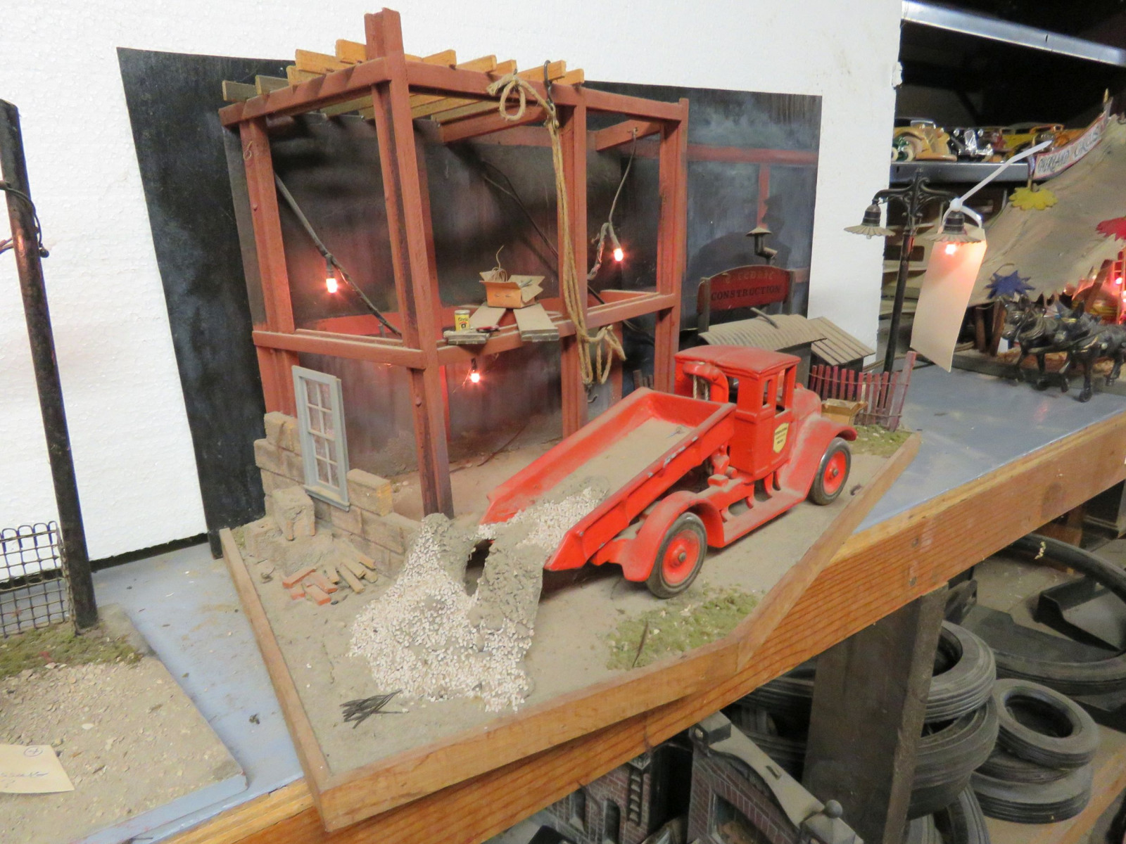 Construction Site Diorama with Vintage Cast Iron Arcade IH Truck - Image 3