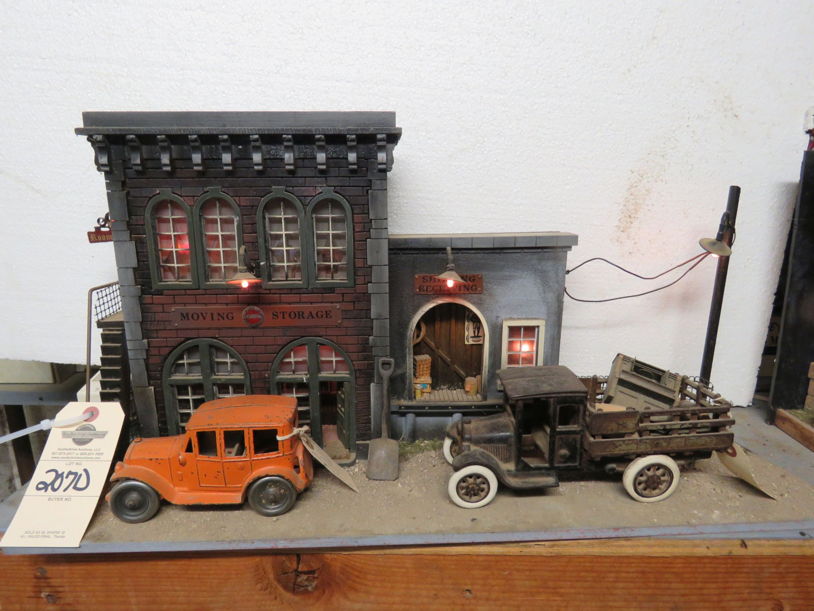 City Street View Diorama with Vintage Cast Iron Toys - Image 1