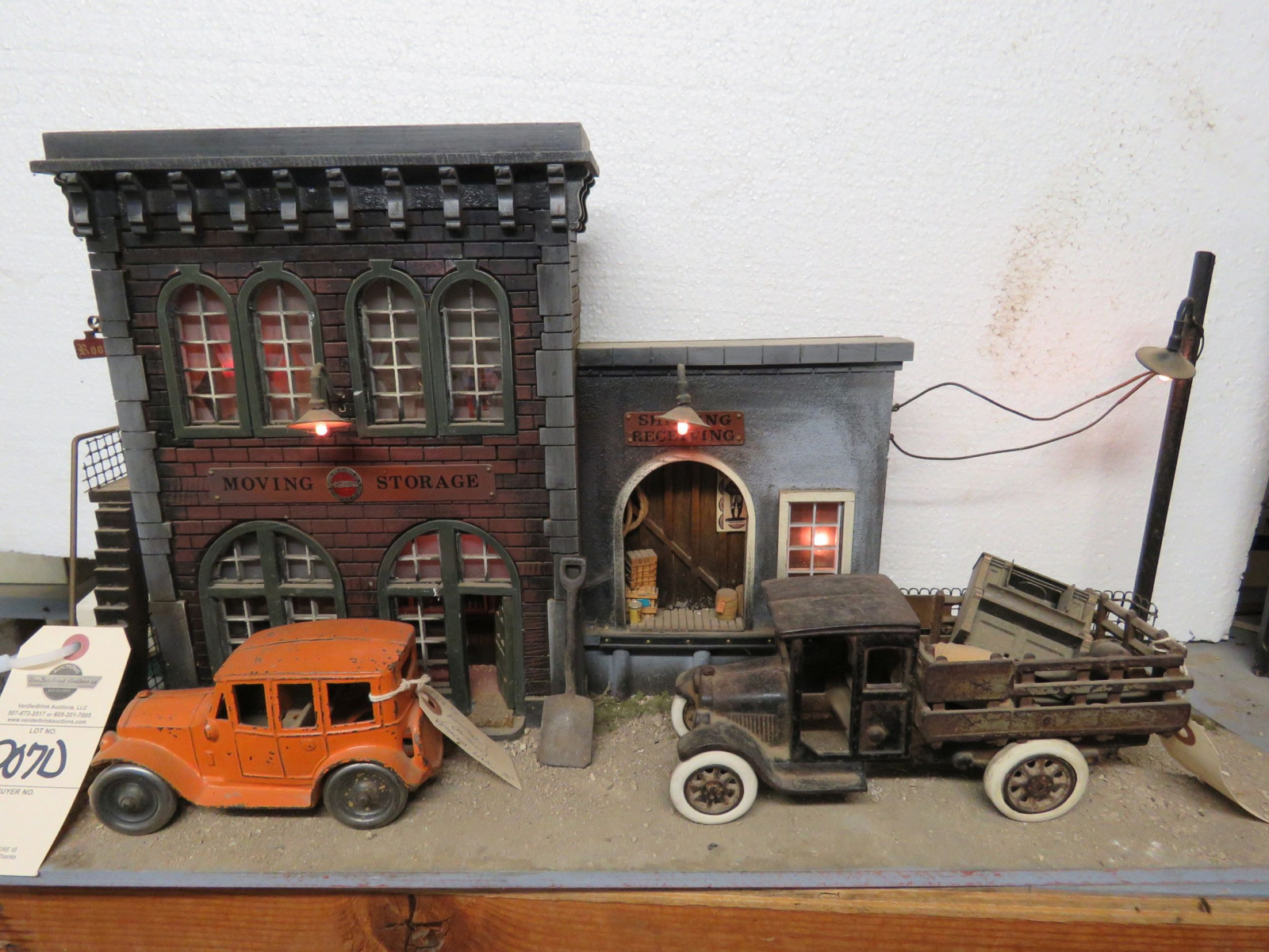 City Street View Diorama with Vintage Cast Iron Toys - Image 2