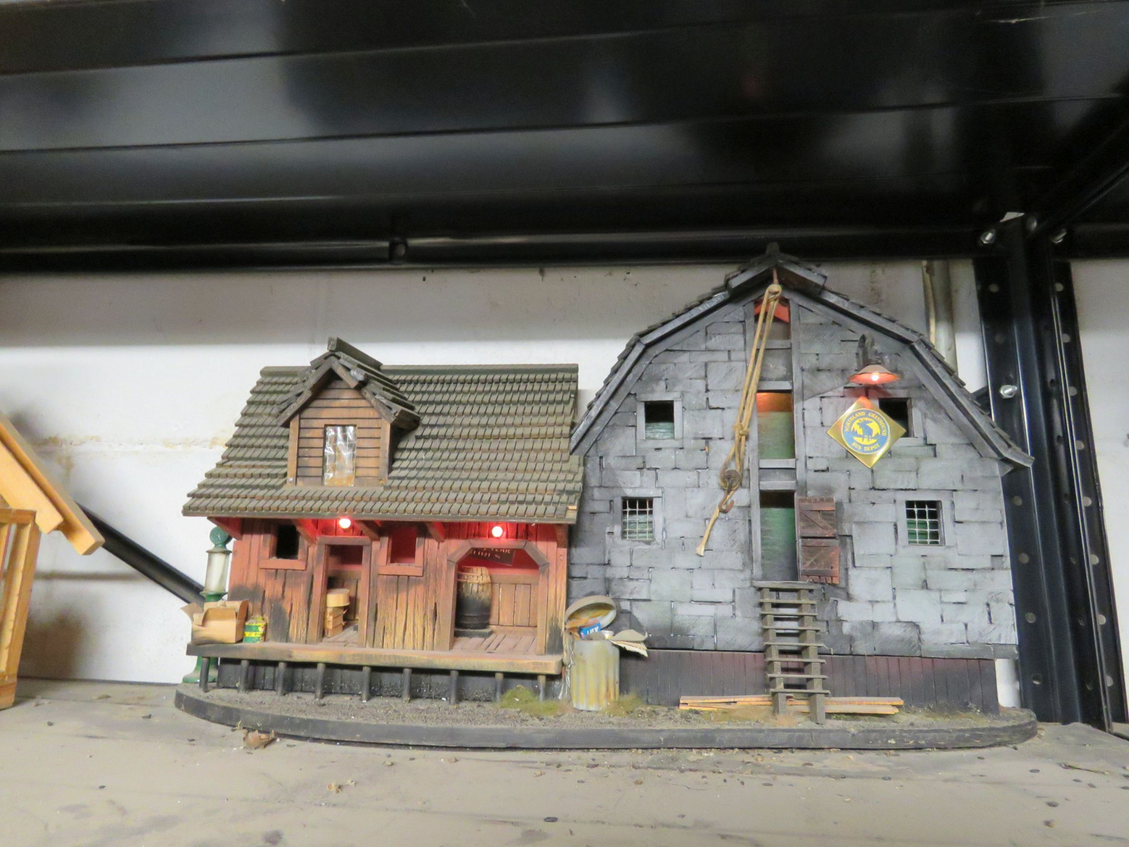 Tire Shop Diorama with Vintage Cast Iron Toys - Image 1