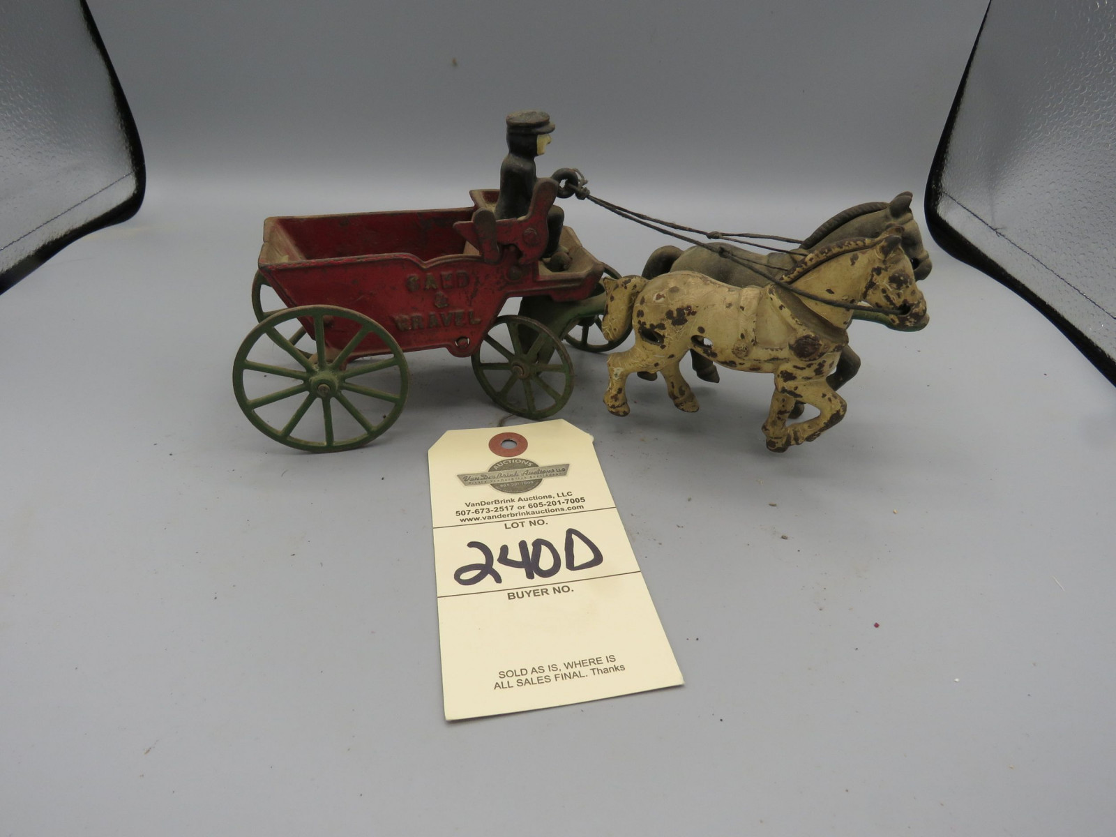 Vintage Cast Iron Horse Drawn Sand & Gravel Wagon with Driver and Horses - Image 1