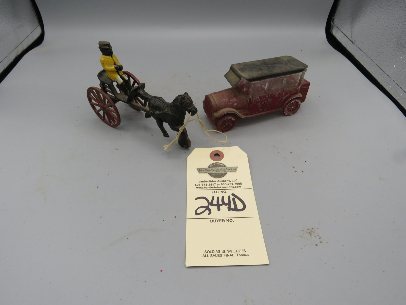 Avon Decanter and Vintage Horse drawn Toy - Image 1