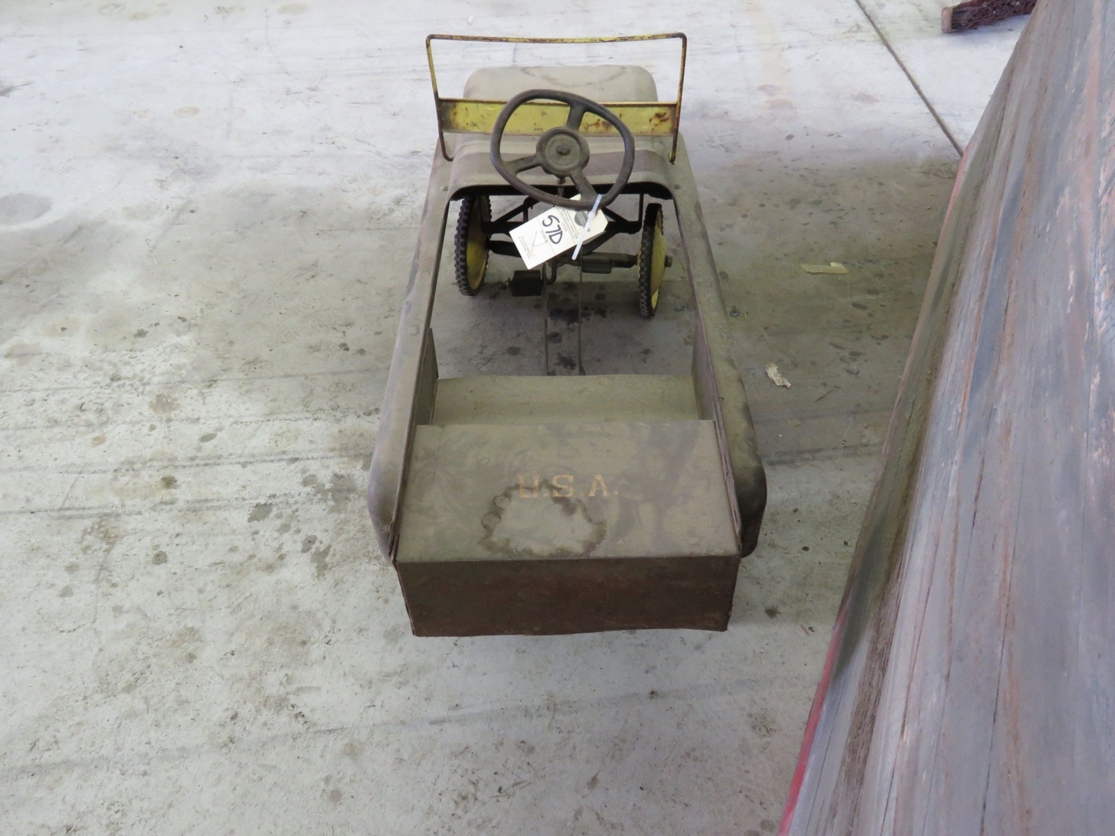 Vintage Garton Military Jeep Pedal Car for restore - Image 4
