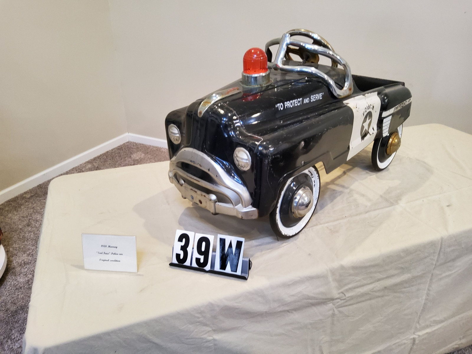 1958 Murray Sad Face Police Pedal Car - Image 1