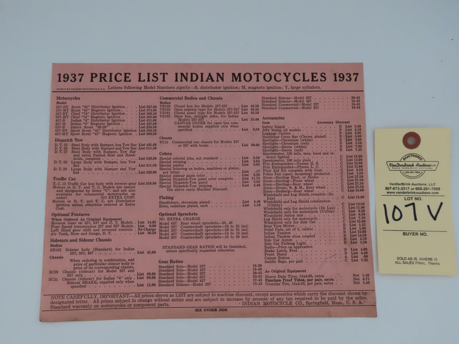1937 Indian Motorcycles Price List - Image 1