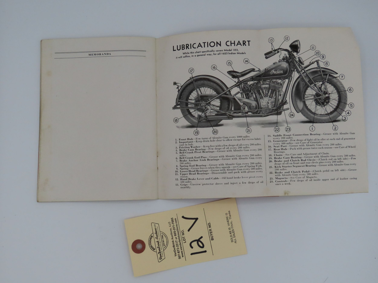 1933 Indian Riders' Instruction Book - Image 2