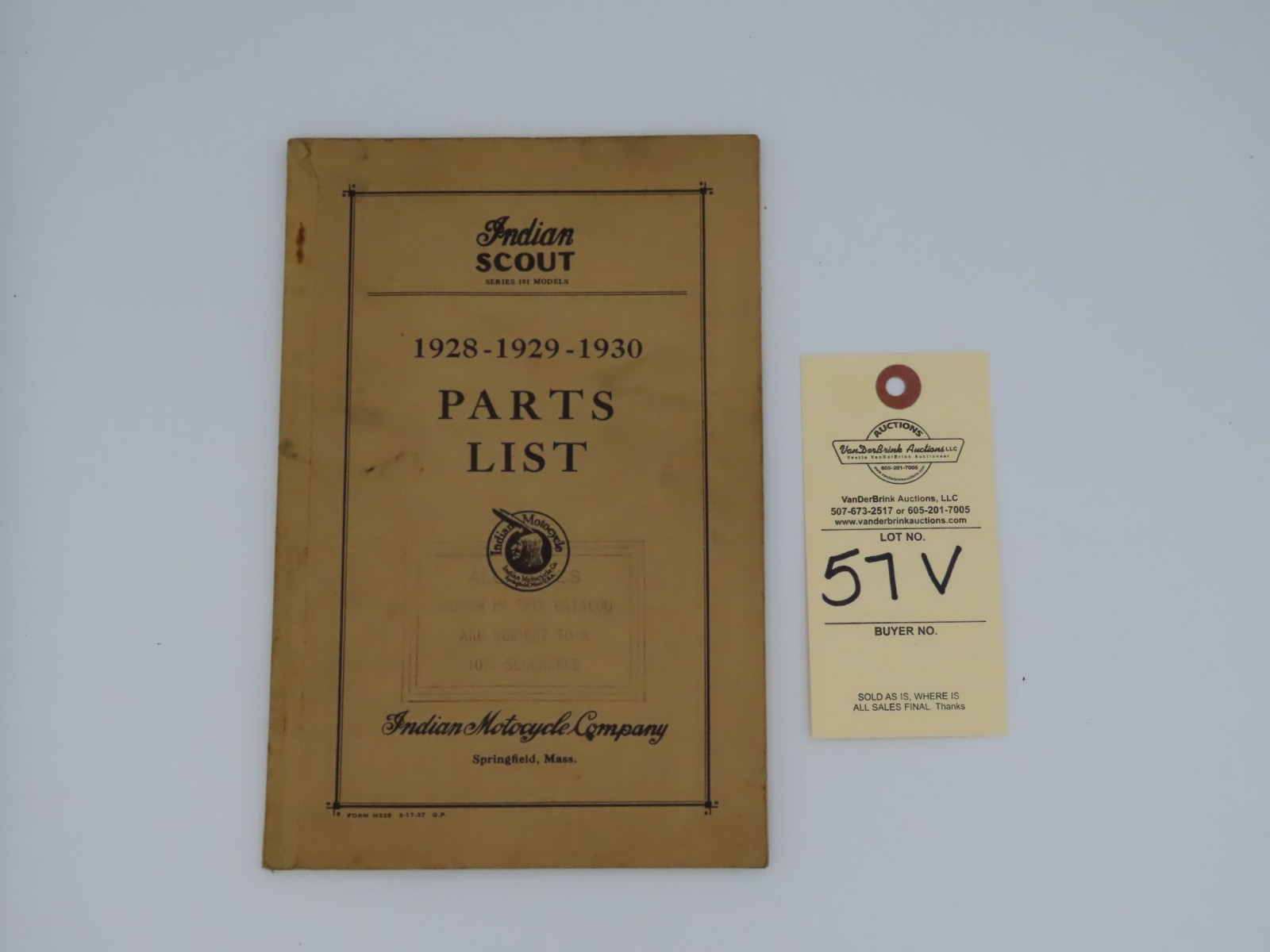 Indian Scout Parts List Manual - Image 1