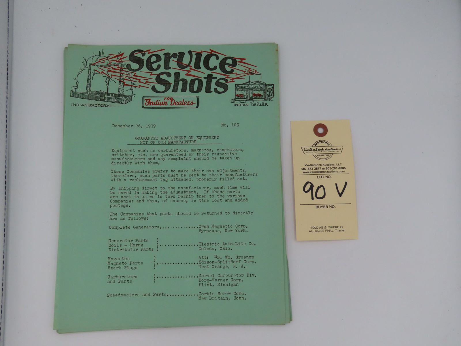 Service Shots for Indian Dealers, dated December 26, 1939 - Image 1