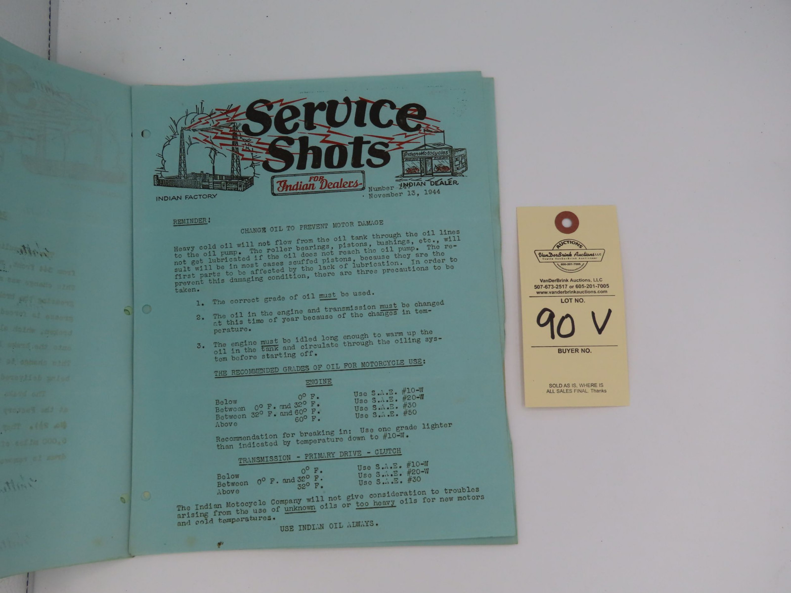 Service Shots for Indian Dealers, dated December 26, 1939 - Image 2