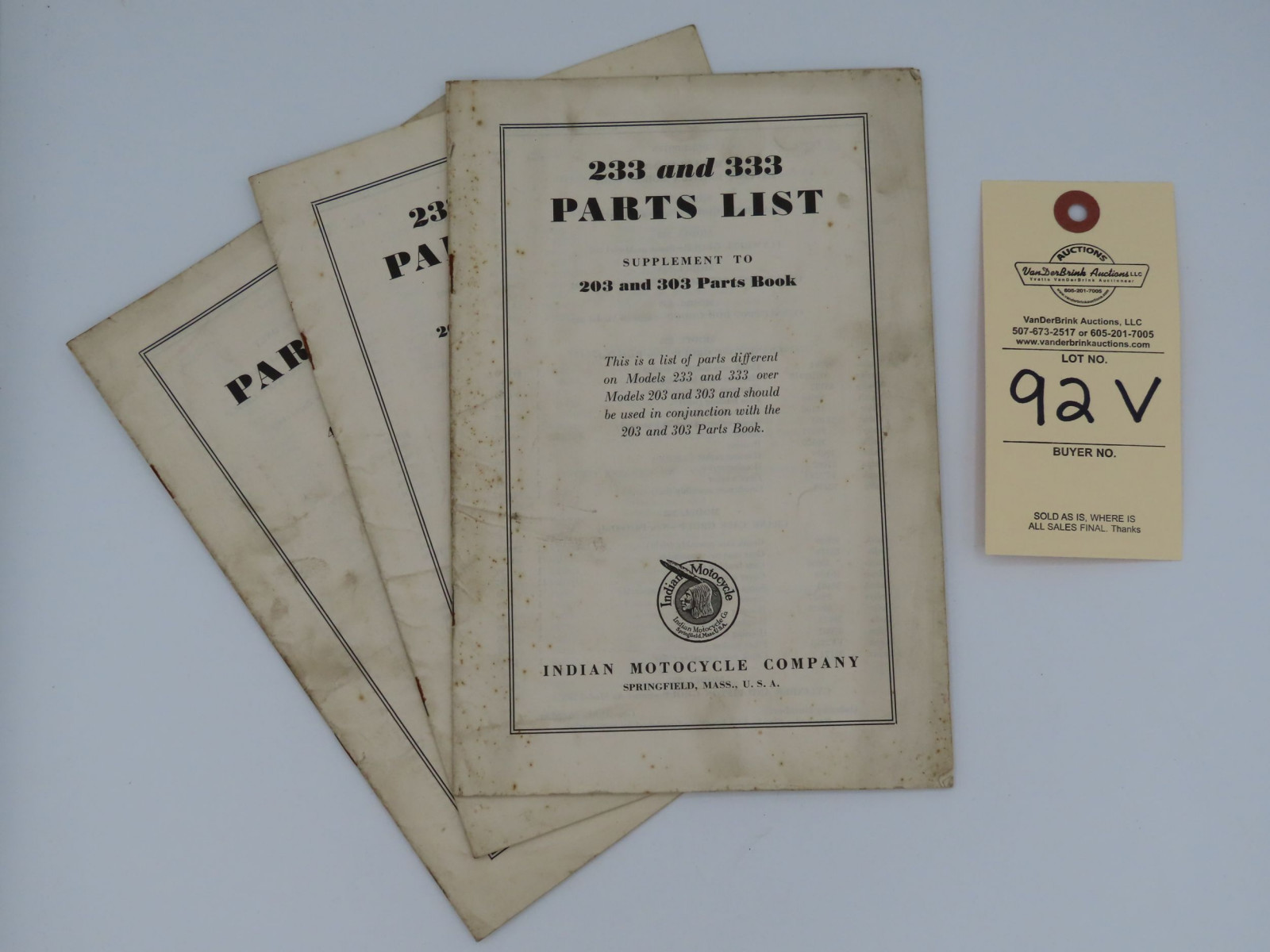 Indian Motorcycle 233 and 333 Parts List book.  Supplement to 203 and 303 Parts Book - Image 1